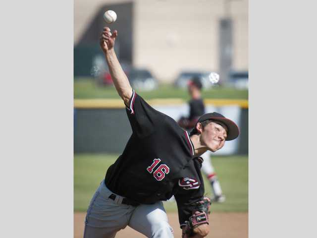 Hart junior Jack Ralston pitches the ball against Golden Valley on Friday at Golden Valley High School.