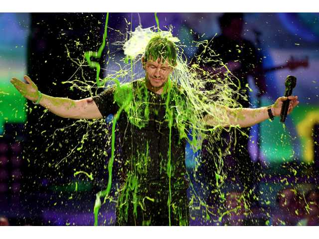 Mark Wahlberg gets slimed at the 27th annual Kids' Choice Awards at the Galen Center on Saturday in Los Angeles.
