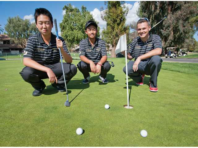 Golden Valley golfers, from left, Jonathan Kang, Raymond Asuncion and Kameron Hobbs make up what could be the best trio in team history.