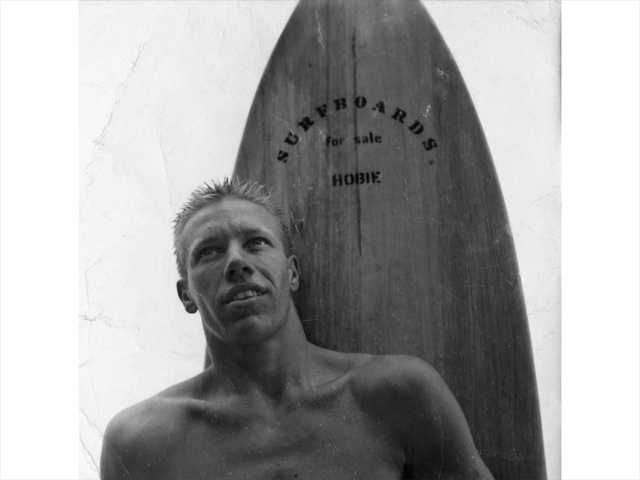"In this undated black and white photo provided on Monday by Hobie Designs, shows young Hobart ""Hobie"" Alter in Laguna Beach."