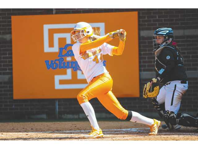 University of Tennessee shortstop and Valencia High graduate Madison Shipman, left, hits the ball against South Carolina on March 23 in Knoxville, Tenn.