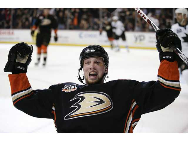 Ducks' Matt Beleskey celebrates his goal during the second period of an NHL hockey game against the Sharks on Wednesda in Anaheim.