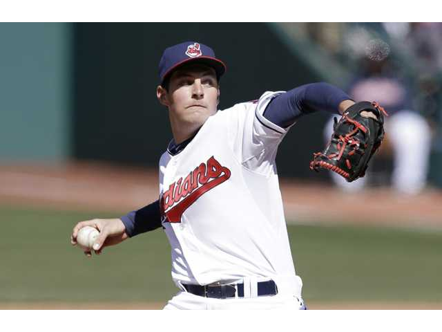 Cleveland Indians pitcher and Hart graduate Trevor Bauer delivers on Wednesday in Cleveland.