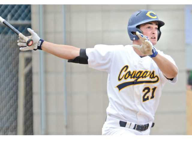 College of the Canyons' David Oppenheim homers in the third inning on Thursday.