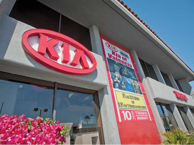 The Kia of Valencia dealership on Friday.