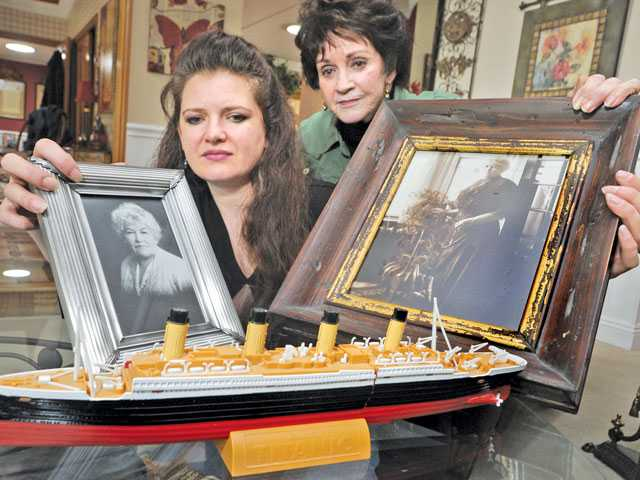 Lisa McDougald, left, and her aunt, Linda McDougald Watson, display photos of Mary McDougald Fortune who survived the Titanic when it sank in the early morning hours of April 15, 1912. Dan Watson/The Signal