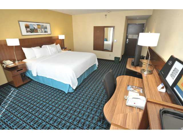 A guest room in the Residence Inn hotel.