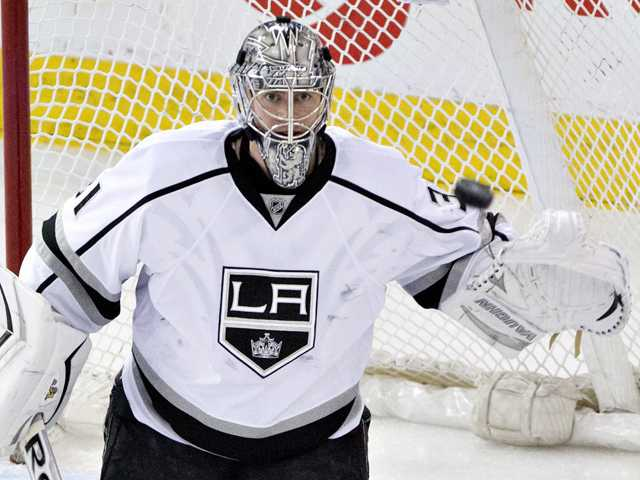 Kings goalie Martin Jones makes the save against the Oilers during the third period of Thursday's game in Edmonton, Alberta.