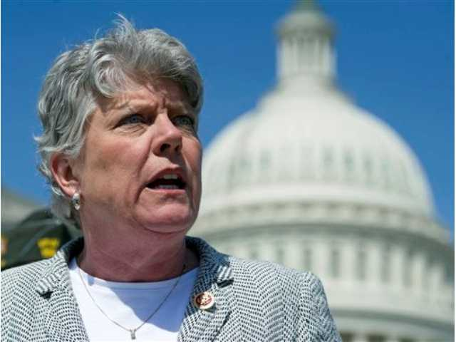 In this March 27, 2014, file photo, Rep. Julia Brownley, D-Calif., speaks during a news conference on Capitol Hill in Washington. Brownley has been voting with the Republican majority in the House to amend or overturn parts of the federal Affordable Care Act.