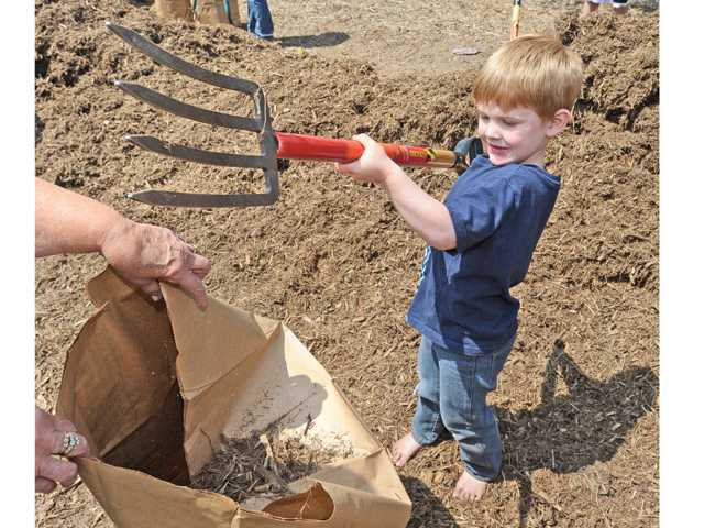 John Duncan, 4, of Saugus helps fill bags of free mulch on hand for attendees of the City of Santa Clarita Earth Arbor Day Festival held at Central Park in Saugus on Saturday.