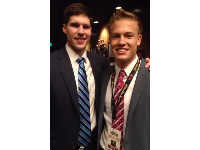 Trinity Classical Academy basketball player Ryan Brooks, right, stands with Creighton University basketball player Doug McDermott on Friday during the John R. Wooden awards ceremony in Los Angeles. Courtesy photo