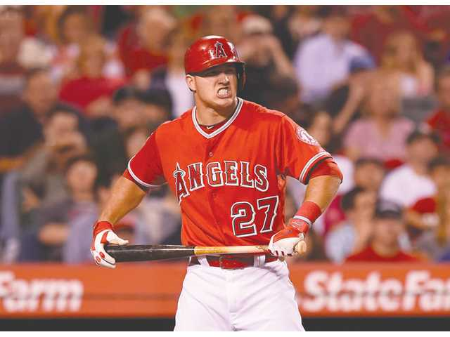 Los Angeles Angel Mike Trout reacts after striking out against the Oakland Athletics on Monday in Anaheim.