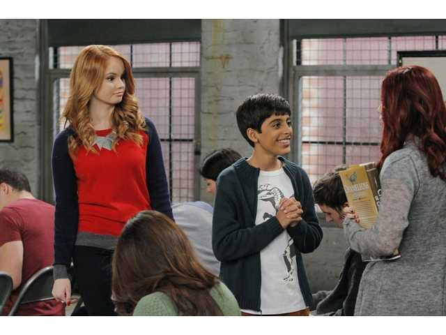 "This photo released by Disney Channel shows, from left, Debby Ryan, Karan Brar, and Jillian Rose Reed, in ""Acting With the Frenemy,"" a new episode of ""Jessie,"" airing on April 27."