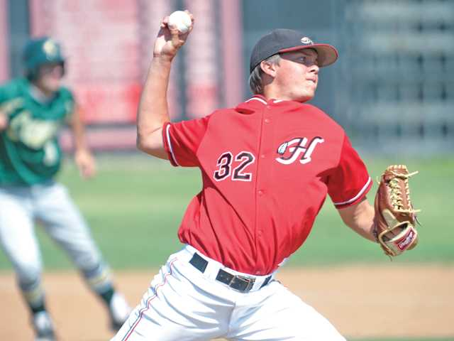 Hart High pitcher Paul Richan throws against Canyon on Wednesday at Hart High School.