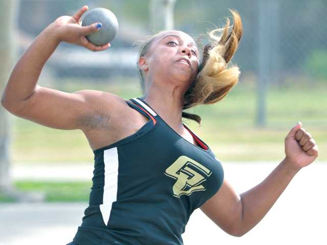 Golden Valley thrower Samiyah Hawkins competes in the shot put against Canyon at Canyon High on Thursday. The Grizzzlies girls won their meet 78-58.