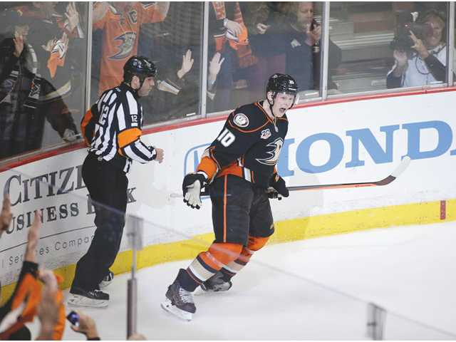 Anaheim Ducks' Corey Perry celebrates his goal against the Dallas Stars during Game 2 of a first-round Stanley Cup playoff series on Friday in Anaheim.
