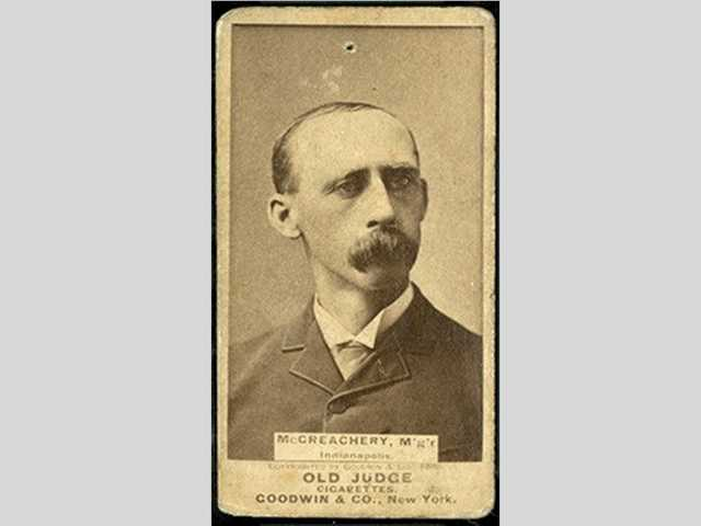 "This 1887 Old Judge baseball card of Deacon White, which erroneously identifies the Baseball Hall of Famer as ""McGreachery"" is currently up for auction."