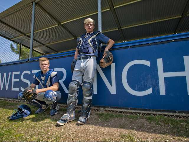 Cade, left, and Jake Spurlin have been instrumental to West Ranch's success so far this season. Cade, a sophomore, is the team's starting catcher and Jake, a senior, has been one of the most consistent bats for the Wildcats