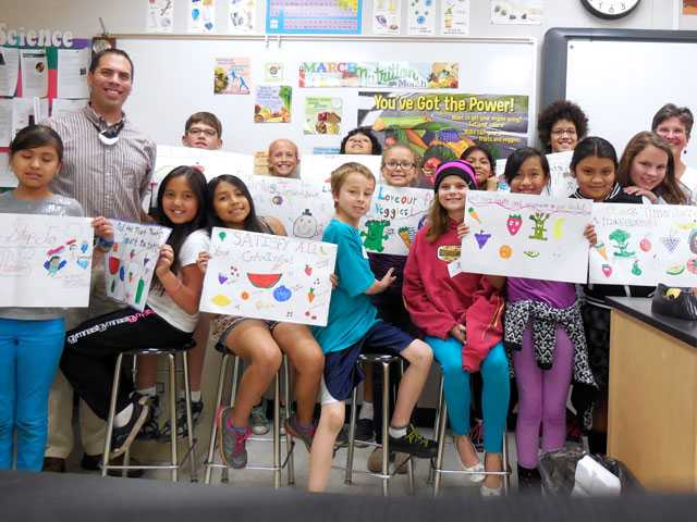 Peachland Elementary nutrition council with advisors Paul Zamperin and Sue Peak. Courtesy Photo
