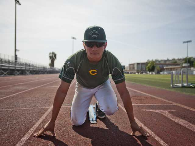 Canyon High's Cole Mears is pulling double duty this spring as the baseball team's center fielder and a sprinter on the track team.