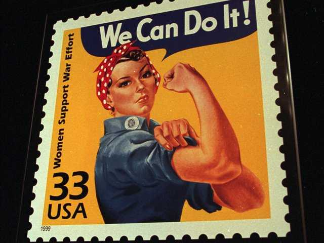 June 25, 1999, file photo shows an enlargement of the U.S. Postal Service's stamp depicting Rosie the Riveter, in South Portland, Maine.