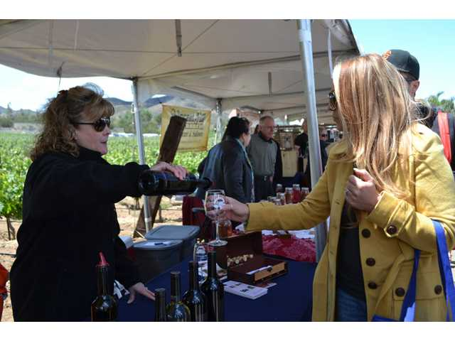 Saugus resident Sheree Dubin tastes red wine at the Sierra Pelona Valley Wine Festival at Reyes Winery.