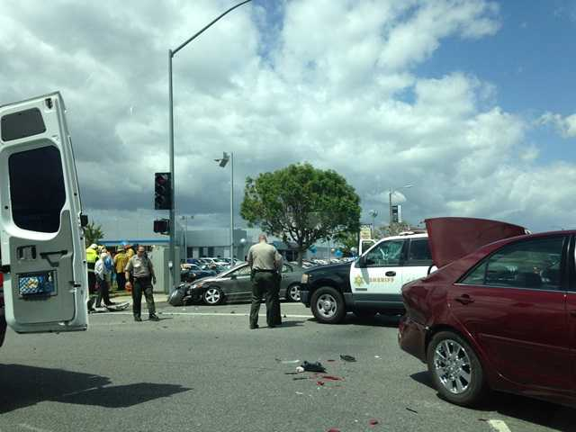 A collision at Creekside Road and Valencia Boulevard around 11:20 a.m. today snarled traffic at the intersection. Signal photo by Austin Dave