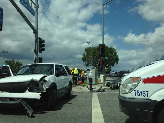 No one was injured in a four-car collision around 11:20 a.m. today at Creekside Road and Valencia Boulevard. Signal photo by Austin Dave