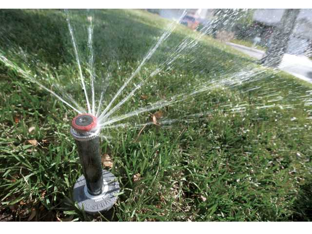 High-efficiency rotor sprinkler heads can save up to 20 percent of water usage per year compared to traditional sprinkler heads, water officials say. Signal photo by Dan Watson
