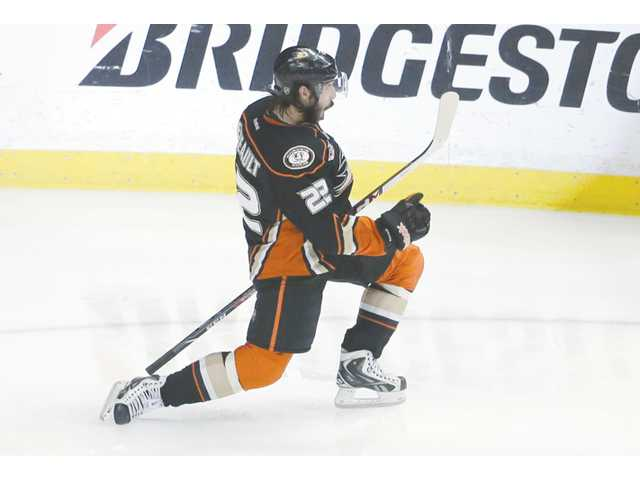Anaheim Ducks center Mathieu Perreault celebrates during Game 5 of a Stanley Cup playoff series against the Los Angeles Kings in Anaheim on Monday.