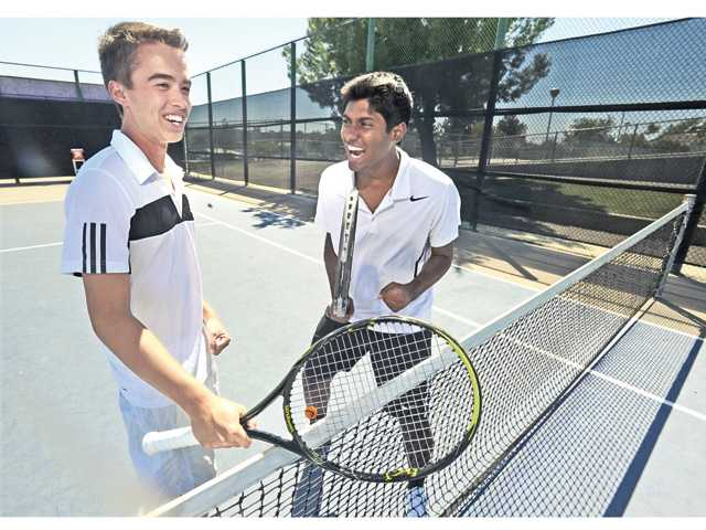 Valencia doubles team Sam Rebele, left, and Ravi Jayanthi joined forces this year to become the team's top pairing. The two of them won the Foothill League double tournament title.