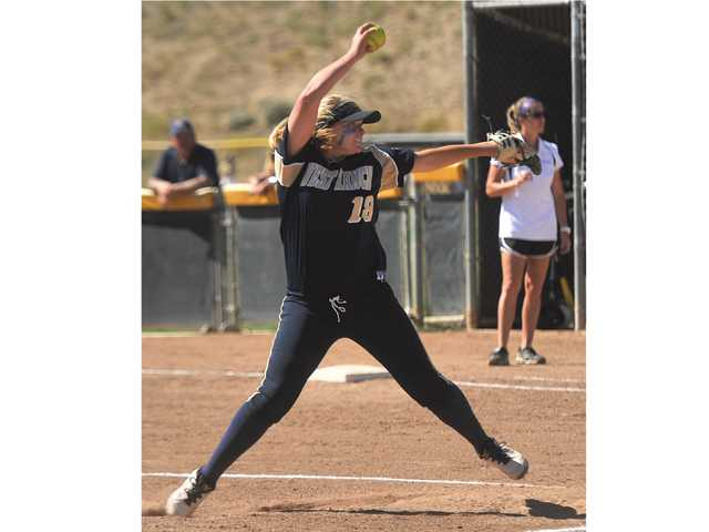 West Ranch's Lexi Sorenson pitches to a Valencia batters during their game at Valencia High School on May 15.