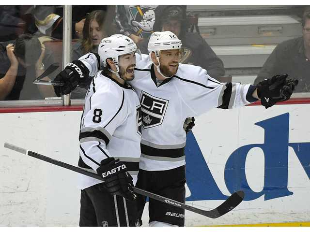 Los Angeles Kings right wing Marian Gaborik, right, celebrates his goal with defenseman Drew Doughty during Game 7 of a second-round Stanley Cup playoff series against the Anaheim Ducks on Friday in Anaheim.