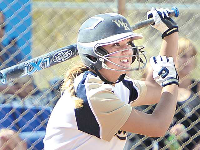 West Ranch's Julia Lombardi hits a double in first inning against Pacifica of Oxnard at West Ranch High School on Tuesday in a CIF-Southern Section Division I first-round playoff game.