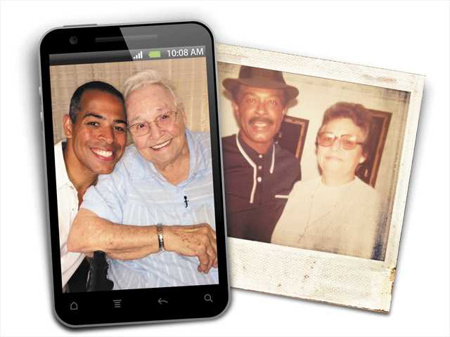 (Left) KTLA news anchor and Stevenson Ranch resident Chris Schauble poses with his birth mother in 2014. (Right) An old family photo shows Schauble's birth parents, who gave him up for adoption when he was one year old.