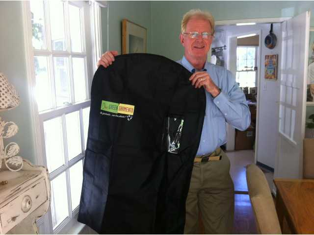 Actor Ed Begley Jr., Flair customer, endorses Flair Cleaners' use of the reusable Green Garmento laundry and garment bag.