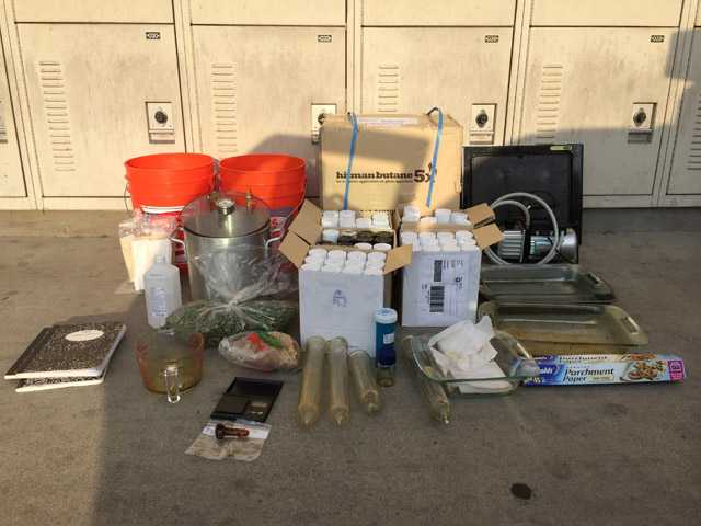 A 20-year-old Castaic man was in custody Saturday night on suspicion of having, making and transporting concentrated cannibis.
