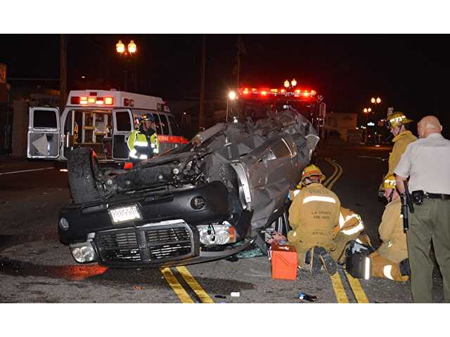 One person was injured in a two-vehicle collision in Newhall early Wednesday. Photo by Rick McClure for The Signal