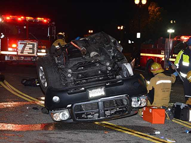 One of the vehicles involved in the two-vehicle collision early Wednesday rolled over on impact. Photo by Rick McClure for The Signal