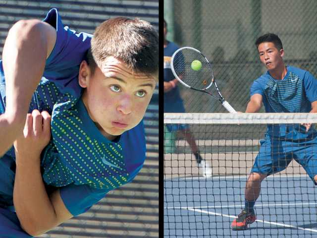 West Ranch freshman Noah Morrow (left) has been playing singles most of the season for his team, but he partnered with junior Chris Gaw (right) at the end of the season. The pairing will begin play in the CIF-Southern Section Individual Tennis Sectionals doubles tournament.