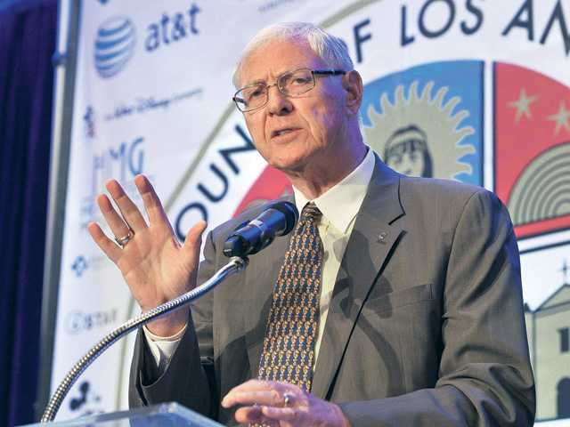 Los Angeles County Supervisor Michael D. Antonovich gives the keynote speech at the 6th Annual State of the County Luncheon held in the Hyatt Regency Valencia grand ballroom on Thursday. Signal photo by Dan Watson.