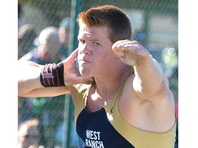 West Ranch's Nathan Bultman competes in the shot put on Friday at Cerritos College during the CIF-Southern Section Masters Meet.