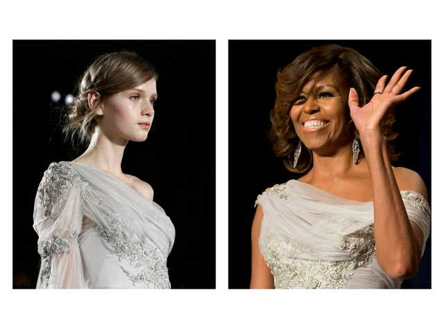 This two-picture combo of file photos shows a model walking the runway during the Marchesa Fall 2013 fashion show at Fashion Week in New York, Feb. 13, 2013, left, and first lady Michelle Obama waving as she arrives at the White House Correspondents' Association (WHCA) Dinner in Washington, May 2.