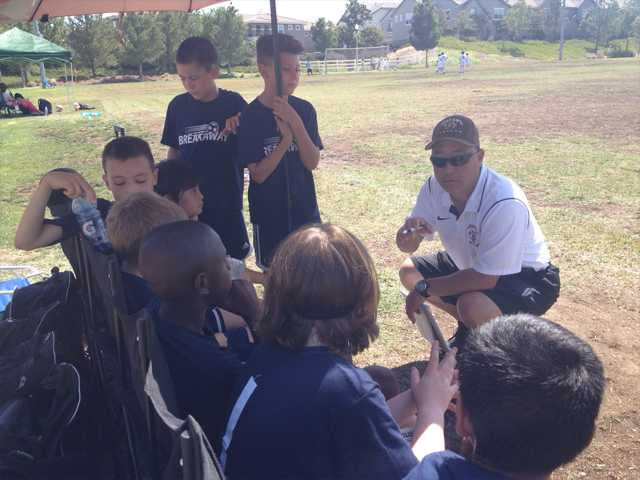Coach Rob Kodama discusses strategy with members of his Breakaway North Valley Soccer Club Sunday at Heritage Park. The team was one of 150 teams competing in 2014 SCV Magic Cup soccer tournament. Signal photo by Jim Holt.