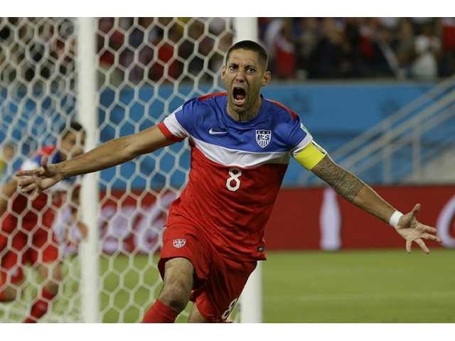 United States player Clint Dempsey celebrates after scoring against Ghana during a World Cup game in Natal, Brazil on Monday.