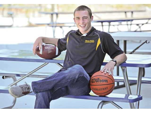 Spencer Klehn won CIF championships in both football and basketball this year at Trinity.