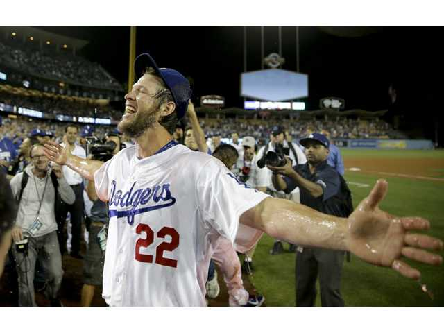 Los Angeles Dodgers starting pitcher Clayton Kershaw celebrates his no-hitter against the Colorado Rockies in Los Angeles on Wednesday.