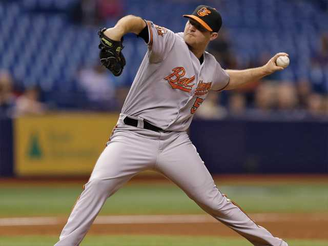 Former Canyon High player and Baltimore Orioles relief pitcher Zach Britton delivers to the Tampa Bay Rays on Tuesday in St. Petersburg, Fla.
