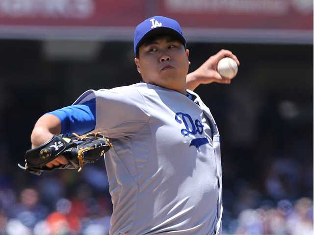 Los Angeles Dodgers starting pitcher Hyun-Jin Ryu pitches against the San Diego Padres on Sunday in San Diego.