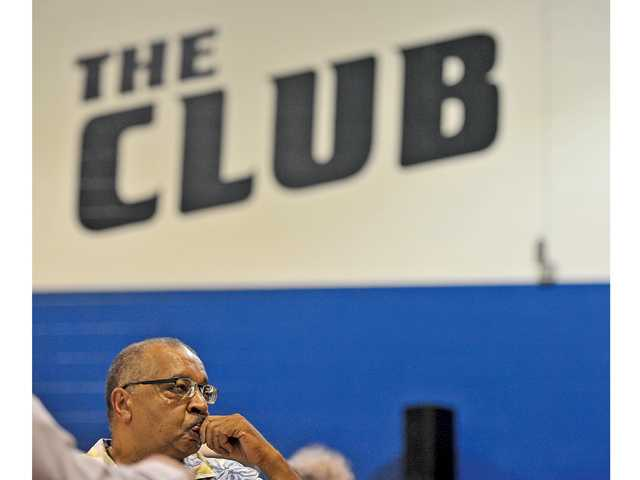 Jim Ventress listens to his introduction at the Boys & Girls Club of Santa Clarita Valley in Newhall on Friday.